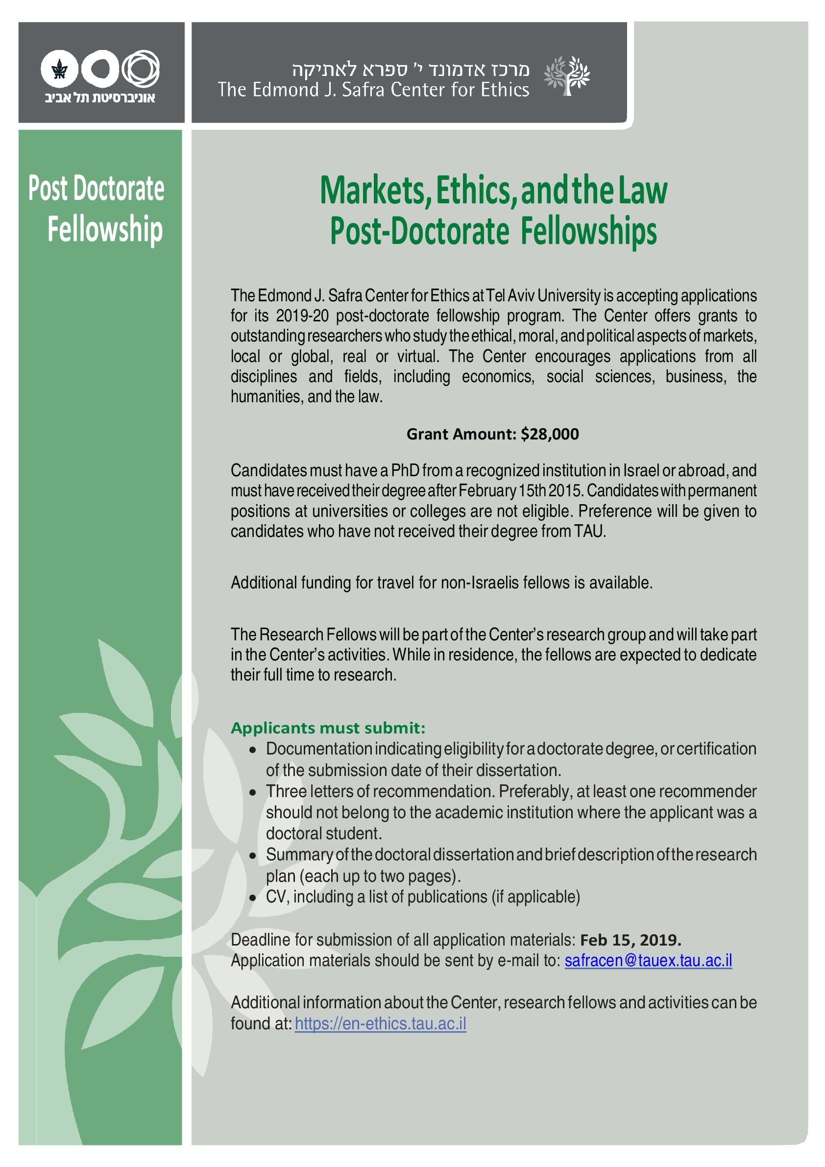 "Call for Post- Doctorate Fellowships - ""Markets, Ethics and the Law"""