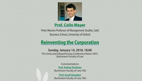 Safra Center Lecture: Prof. Colin Mayer - Reinventing the Corporation